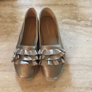Anthropologie rose gold leather espadrilles NIB